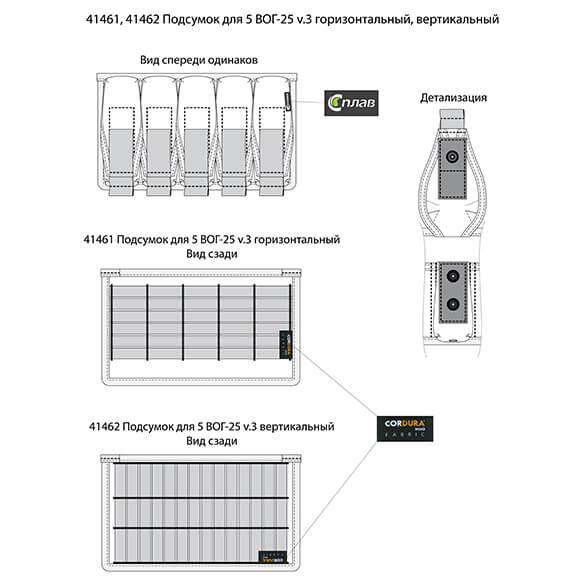 Подсумок для 5 ВОГ-25 v.3 горизонтальный